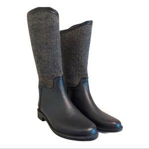 EUC Chooka Saddle Herringbone Black Rain Boots